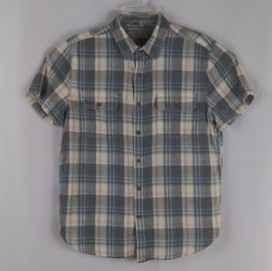 Lucky Brand blue plaid casual shirt men size M.